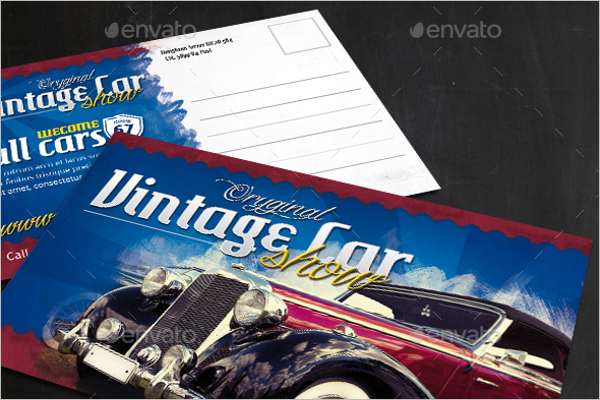 Vintage Cars Event Postcard Template