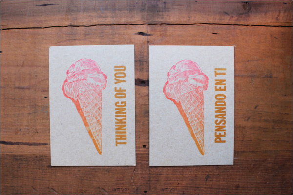 Vintage Ice cream Post card template