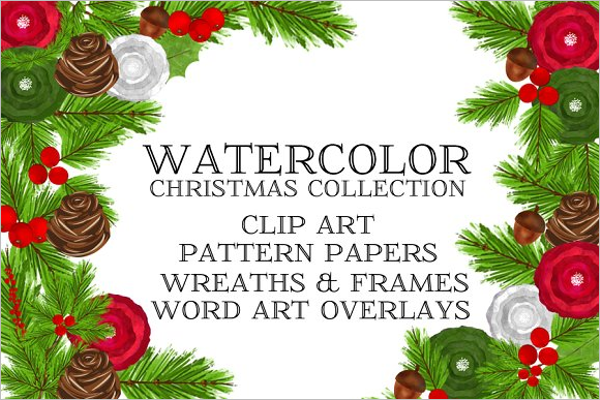Watercolor Christmas Collection Template