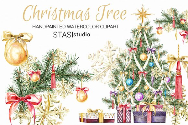 Watercolor Christmas Tree Template