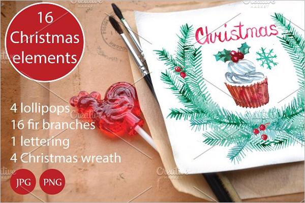 Watercolor Christmas set Template