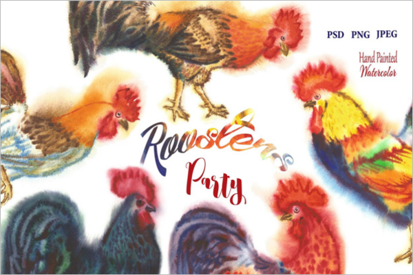 Watercolor Roosters Template