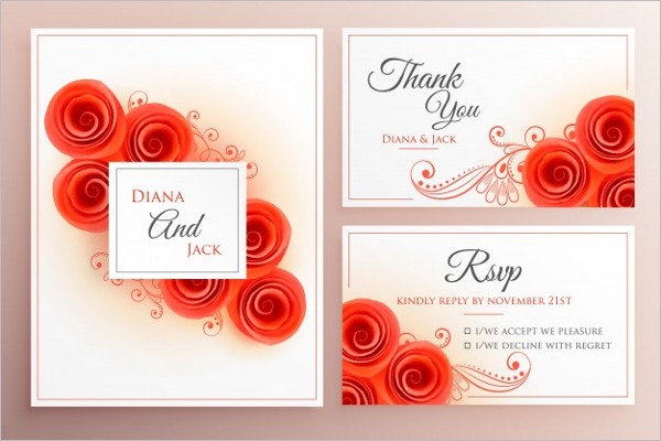 Wedding Invitation Roses Set