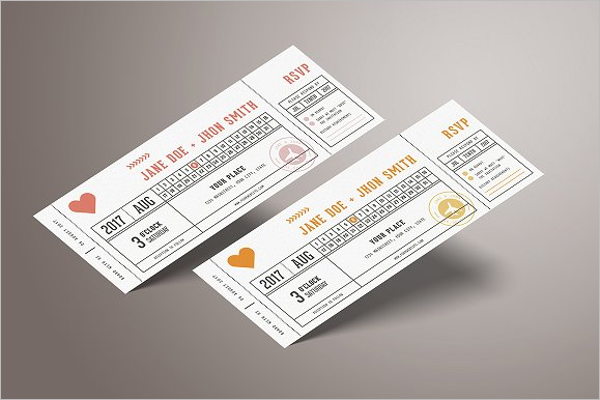 Wedding Invitation Vector Ticket Template