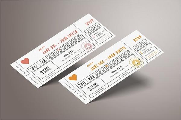 Wedding Invitation Vector Ticket Template