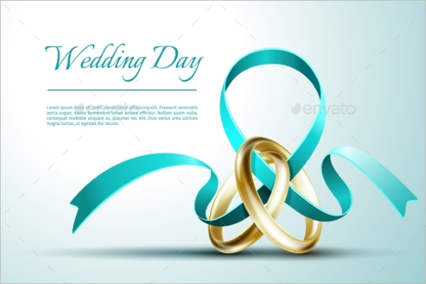 Wedding Rings Invitation Card Vector