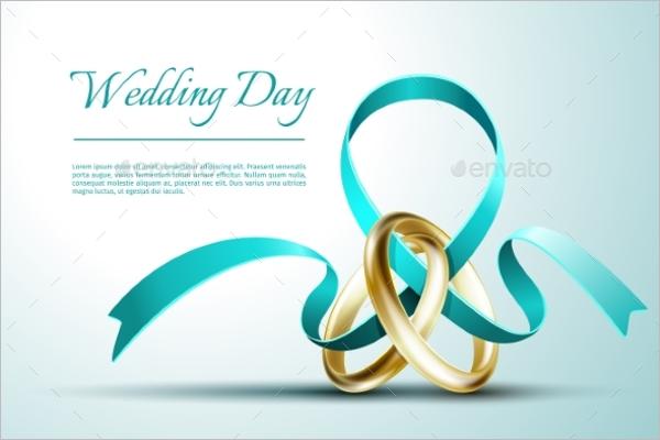 Wedding Rings Invitation Card Vector
