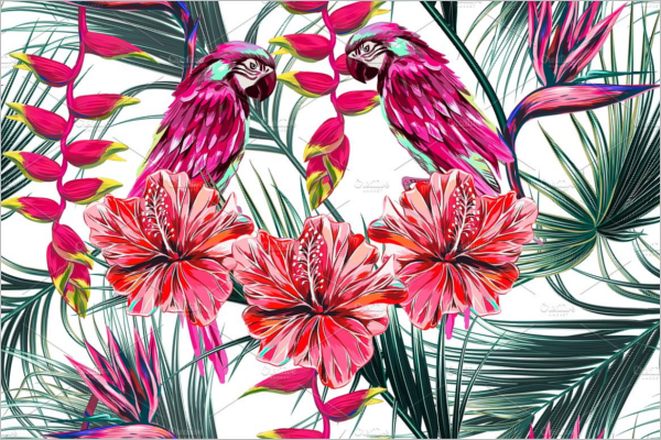 Wildlife Tropical Flowers Pattern