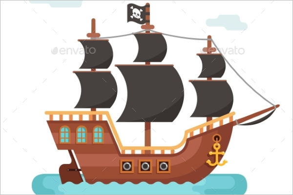 Wooden Pirate Ship Vector