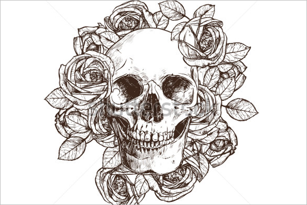 Abstract Skull Tattoo Design