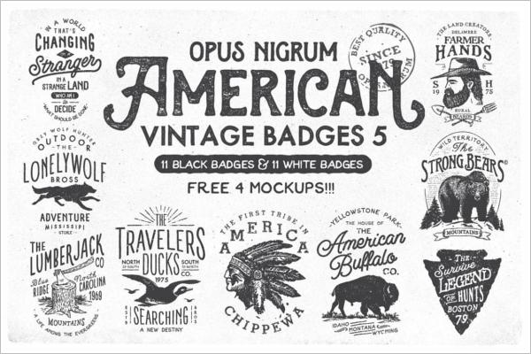 American Vintage Badges Template