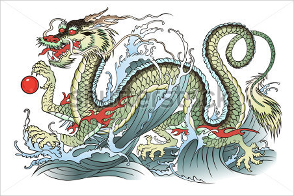 Ancient Dragon Tattoo Design