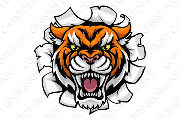 Angry Tiger Tattoo Design Creative Template