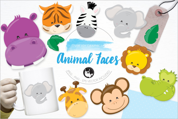 Animal Face Collection vector Design
