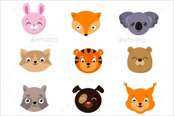 Baby Animal Faces Vector Design