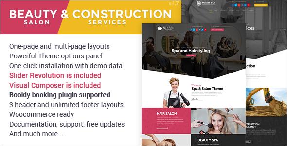 Beauty Salon & Construction Services Theme