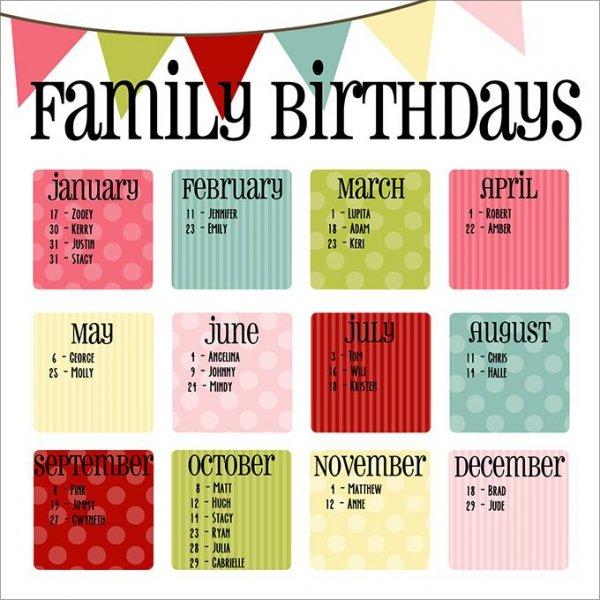 Birthday Calendar Templates Free Premium Designs – Birthday Calendar Template