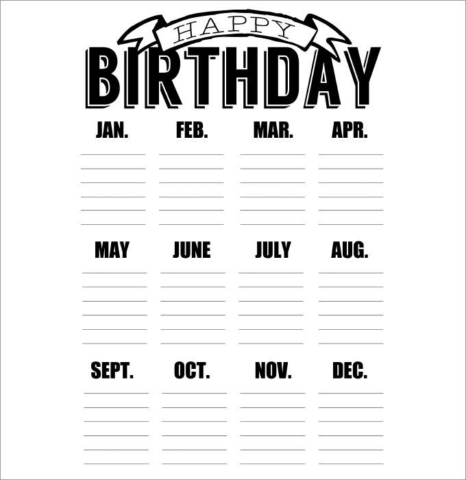 Birthday Calendar Template Design