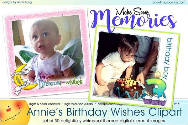 Birthday Wishes Clipart Template