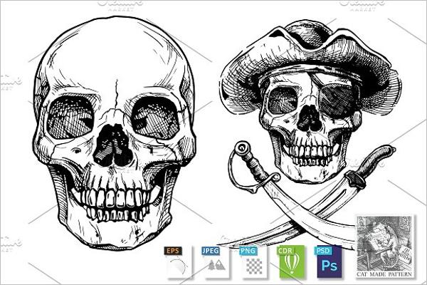 Black and White Skull Design