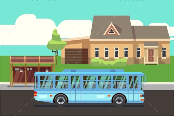 Blue Bus Illustration Vector