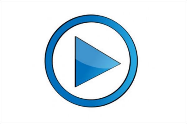 Blue Play Button Design