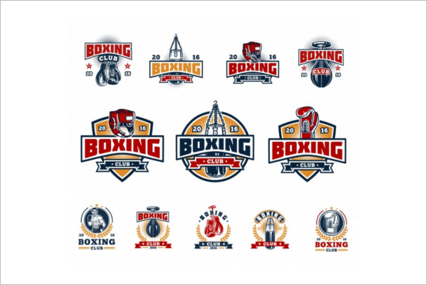 Boxing Badges Vector Template