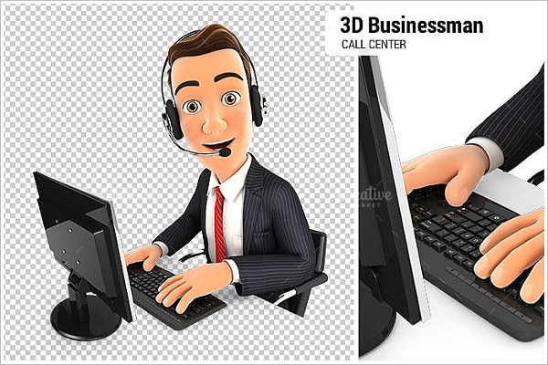 Businessman Call Center Vector Design