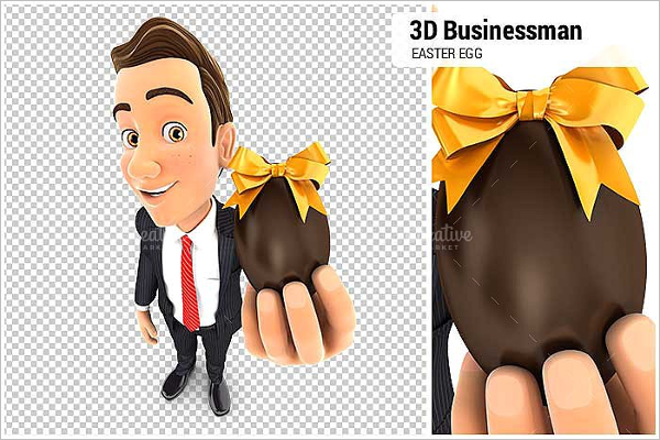 Businessman Holding Easter Design