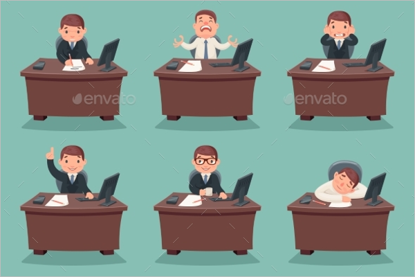 Businessman Work Place Vector Design