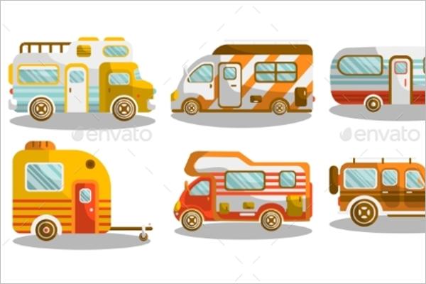 Camping Bus Illustration Vector