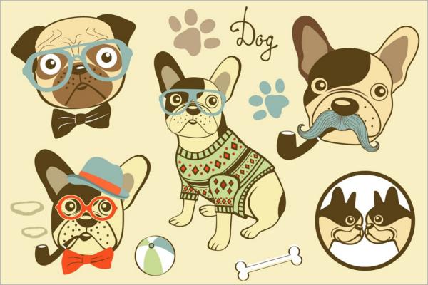 Cartoon Dog Head Vector Design