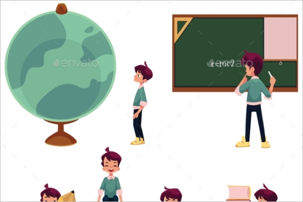Cartoon Schoolboy Vector Illustration