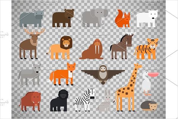 Cartoon Zoo Animals Design