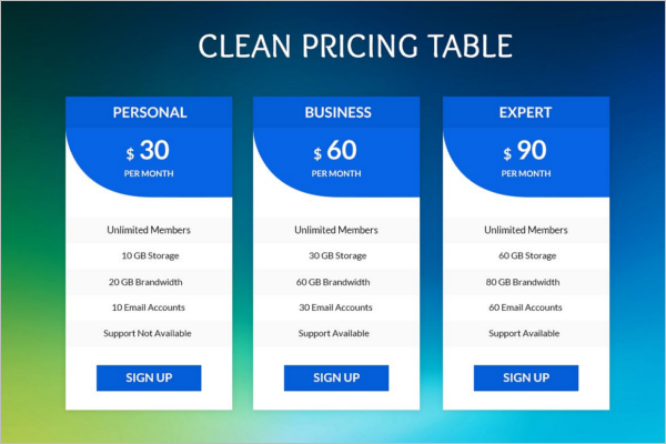 Clean Pricing Table Template