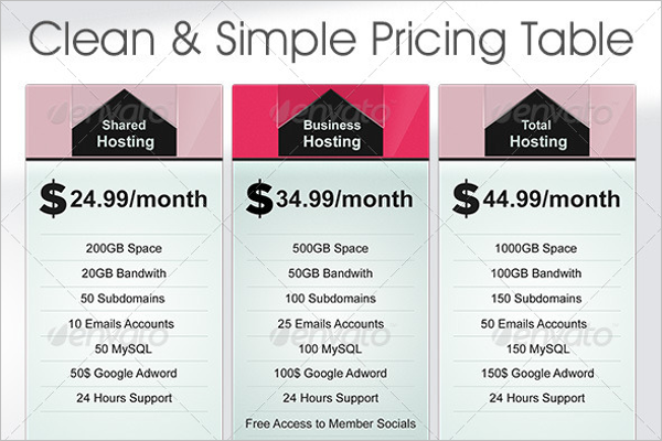 Clean & Simple Hosting Price Table