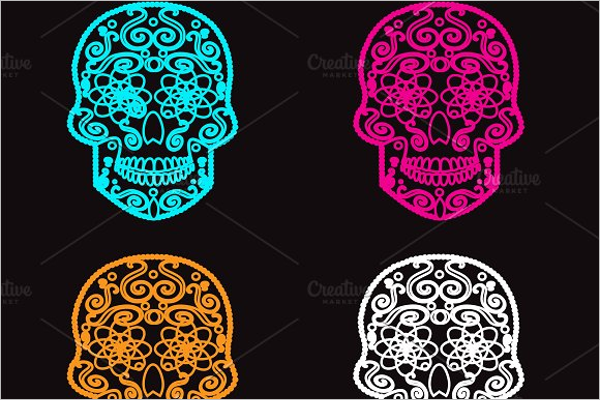 Colorful Skull Tattoos Design