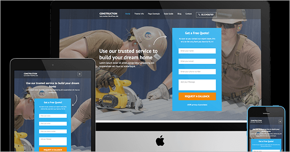 Construction Free Landing Page Theme