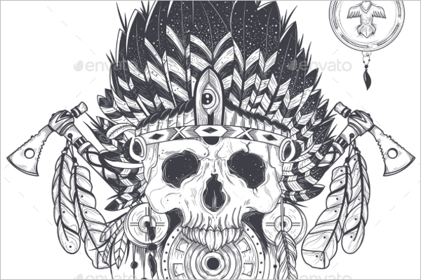 Crazy Skull Tattoo Design