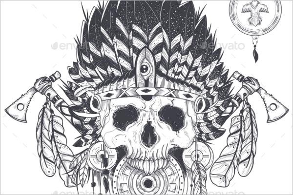 Crazy Skull Tattoo Design