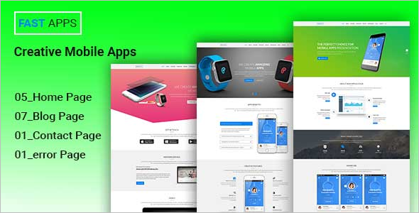 Creative Mobile Apps PSD Template