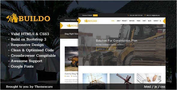 Custamizable Construction Building HTML5 Template