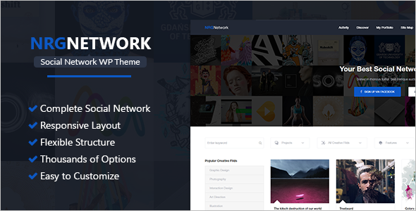Custamizable Social Network WordPress Theme