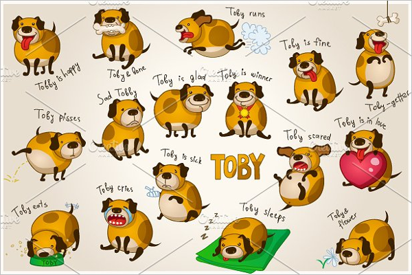 Cute cartoon Dog Template