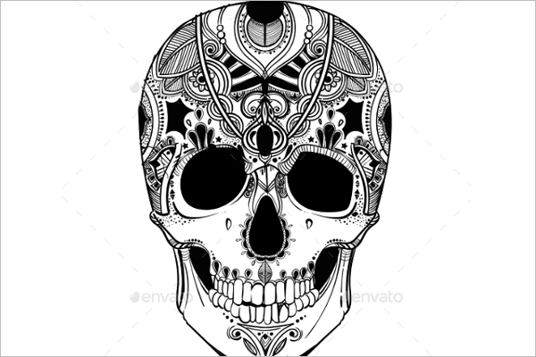 Decorative Human Skull Vector Design