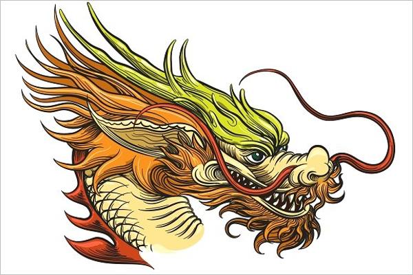 Dragon Face Tattoo Design