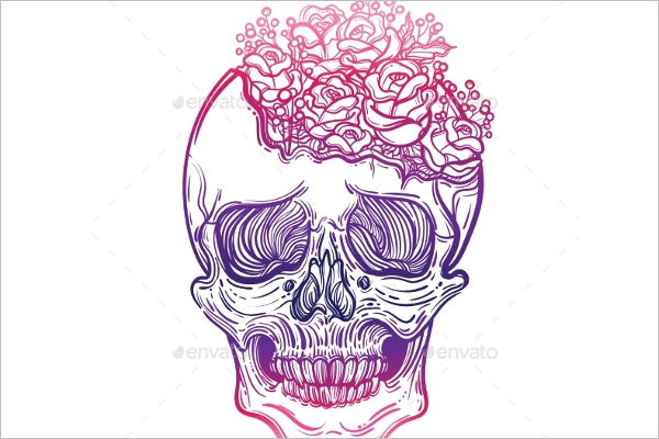 Drawing Human Skull Design