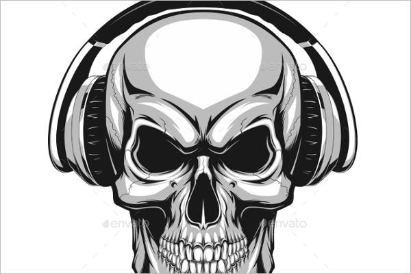 Editable Human Skull Vector Design
