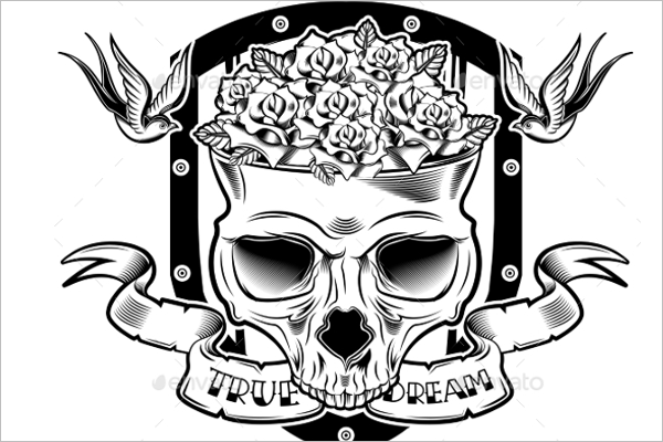 Editable Skull Tattoo Design
