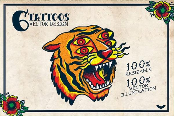 Editable Tiger Tattoo Design
